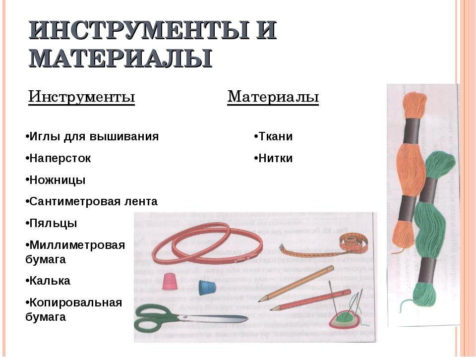 ИНСТРУМЕНТЫ И МАТЕРИАЛЫ Инструменты Материалы Иглы для вышивания Наперсток Но...