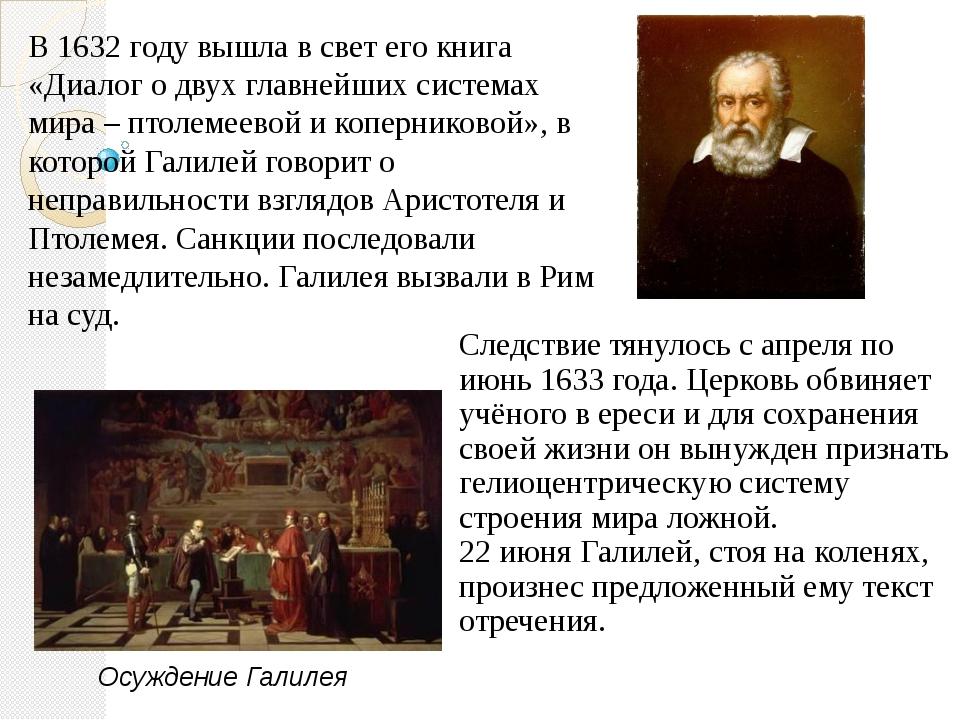 Следствие тянулось с апреля по июнь 1633 года. Церковь обвиняет учёного в ере...
