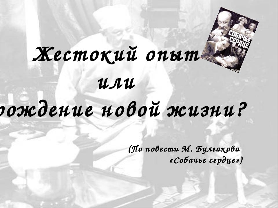 Жестокий опыт или рождение новой жизни? (По повести М. Булгакова «Собачье сер...