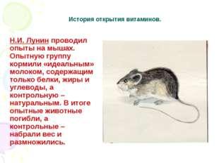 История открытия витаминов. Н.И. Лунин проводил опыты на мышах. Опытную групп
