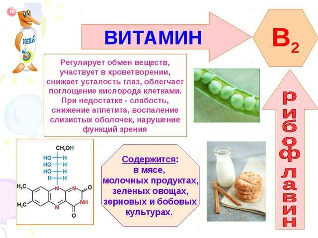ВИТАМИН B2 Регулирует обмен веществ, участвует в кроветворении, снижает устал...