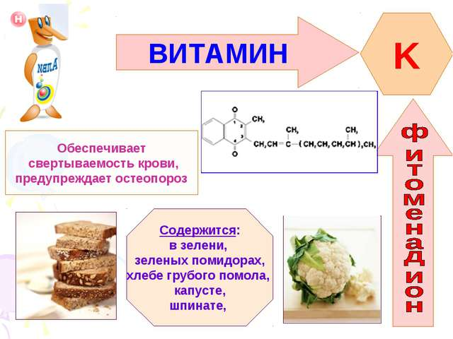 ВИТАМИН K Обеспечивает свертываемость крови, предупреждает остеопороз Содержи...