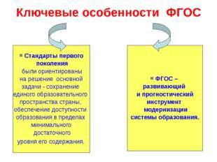 Ключевые особенности ФГОС Стандарты первого поколения были ориентированы на р