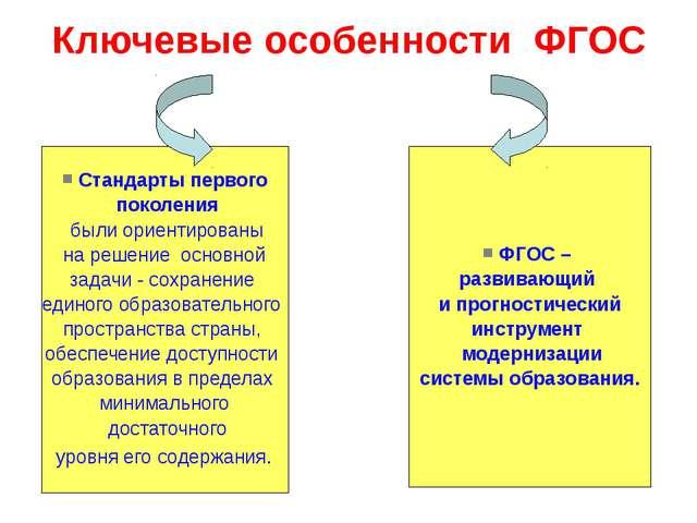 Ключевые особенности ФГОС Стандарты первого поколения были ориентированы на р...