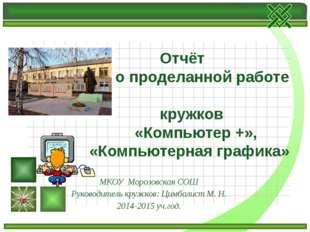 МКОУ Морозовская СОШ Руководитель кружков: Цимбалист М. Н. 2014-2015 уч.год.