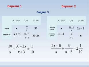Вариант 1 Вариант 2 Задача 3 v,км/ч t,ч S,км туда х 30 обратно х+ 3 30-2х v,к