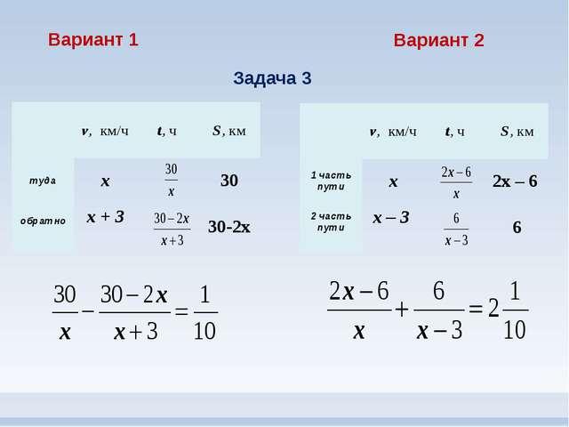 Вариант 1 Вариант 2 Задача 3 v,км/ч t,ч S,км туда х 30 обратно х+ 3 30-2х v,к...