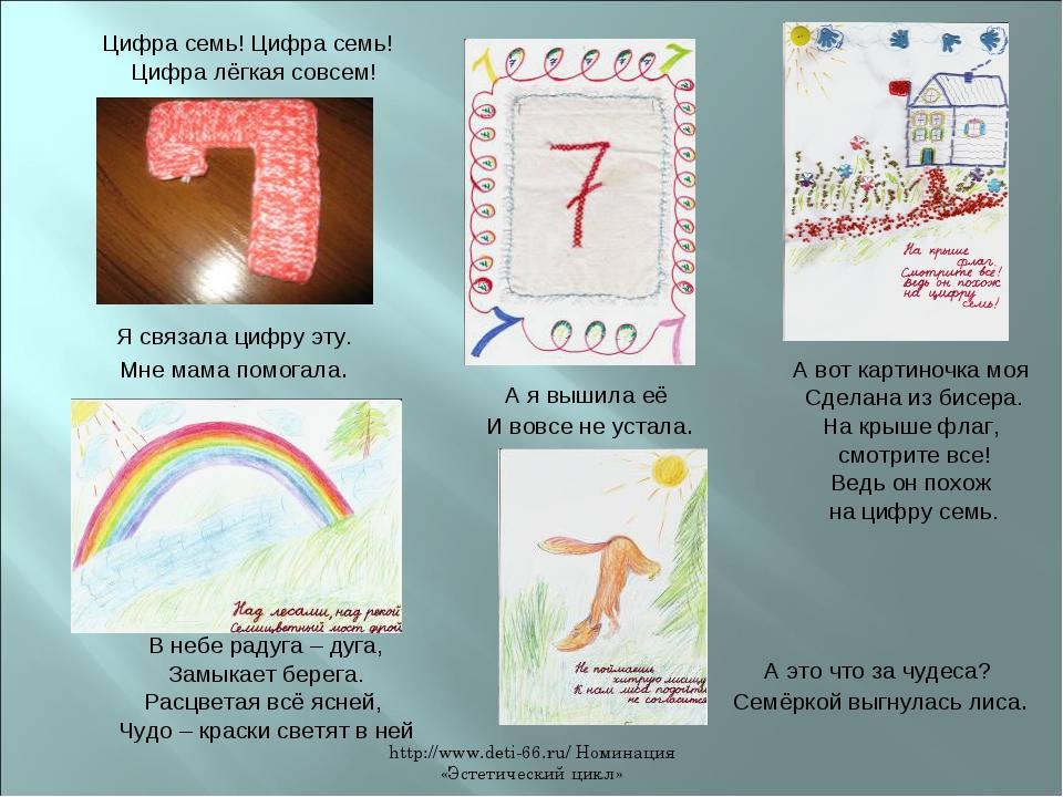 http://www.deti-66.ru/ Номинация «Эстетический цикл» Цифра семь! Цифра семь!...