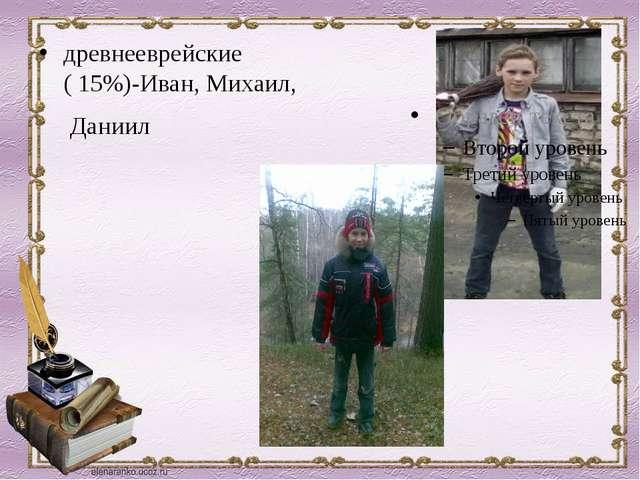 древнееврейские ( 15%)-Иван, Михаил, Даниил