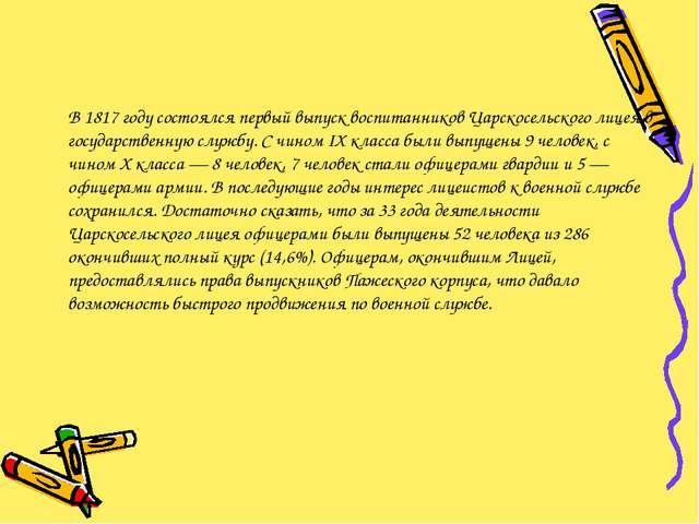 В 1817 году состоялся первый выпуск воспитанников Царскосельского лицея в го...