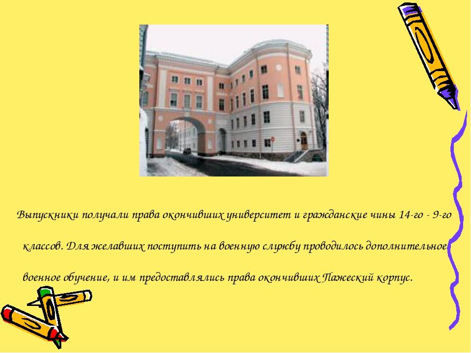 Выпускники получали права окончивших университет и гражданские чины 14-го -...