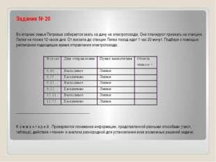 Задание № 20 Во вторник семья Петровых собирается ехать на дачу на электропо