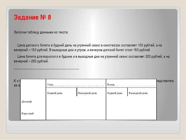 Задание № 8 Заполни таблицу данными из текста: Цена детского билета в будний...