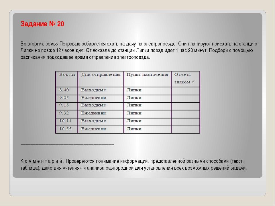 Задание № 20 Во вторник семья Петровых собирается ехать на дачу на электропо...