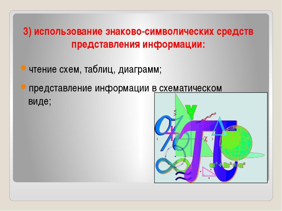 3) использование знаково-символических средств представления информации: чтен...