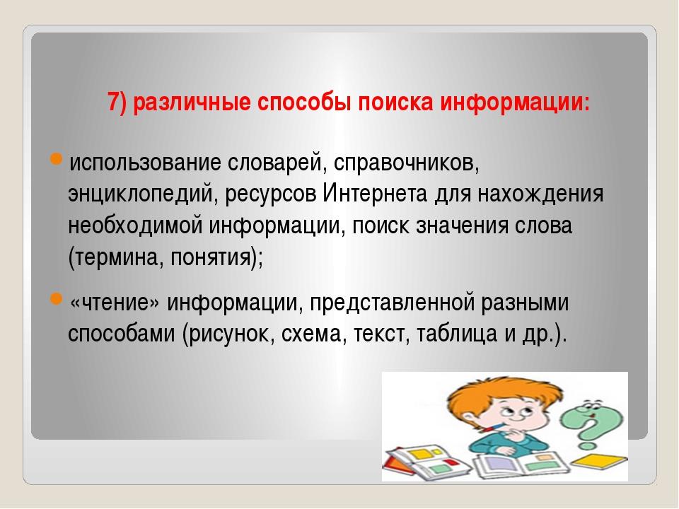 7) различные способы поиска информации: использование словарей, справочников,...