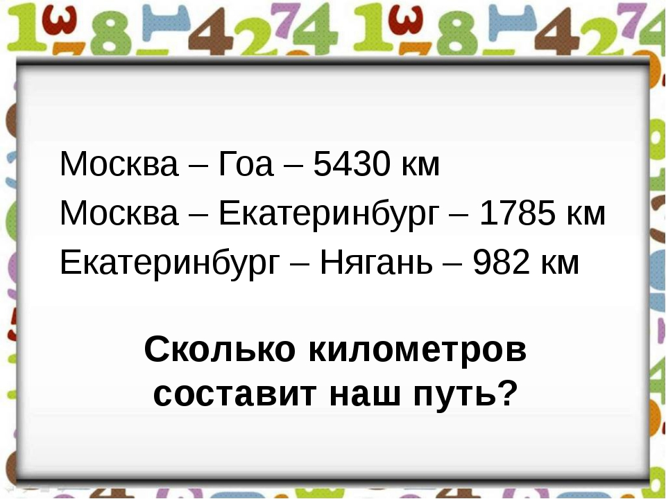 Сколько километров составит наш путь? Москва – Гоа – 5430 км Москва – Екатери...