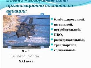 Военно – воздушные силы организационно состоят из авиации: В – 2 Бомбардировщ