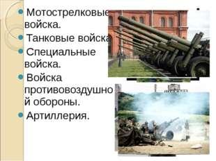 Мотострелковые войска. Танковые войска. Специальные войска. Войска противовоз