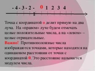 0 1 2 3 4 - 1 - 2 - 3 - 4 Точка с координатой о делит прямую на два луча. На