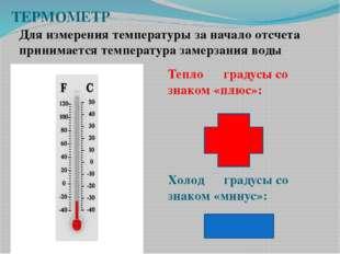 Тепло ― градусы со знаком «плюс»: Холод ― градусы со знаком «минус»: ТЕРМОМЕТ