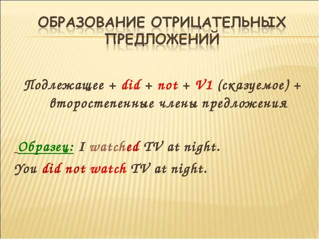 Подлежащее + did + not + V1 (сказуемое) + второстепенные члены предложения О...