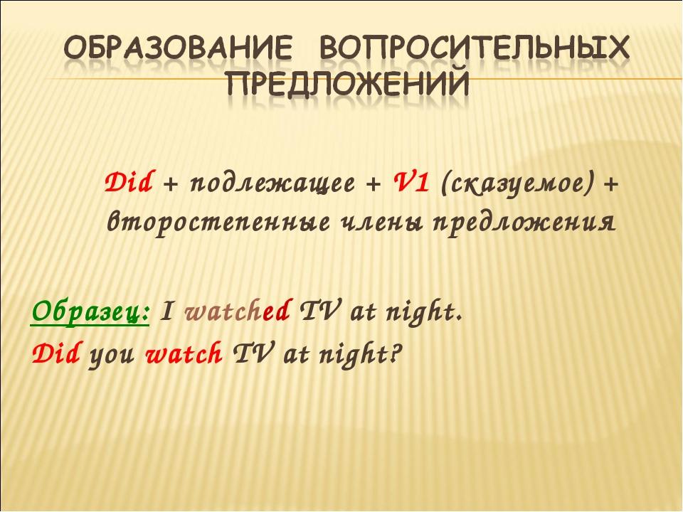 Did + подлежащее + V1 (сказуемое) + второстепенные члены предложения Образец...
