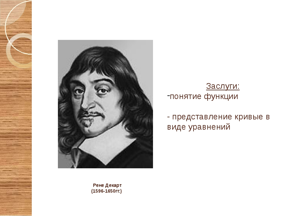 Рене Декарт (1596-1650гг.) Заслуги: понятие функции - представление кривые в...