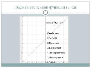 Графики степенной функции (y=xn) Свойства:  1)D(f)=IR 2)Нечетная 3)Возрастае