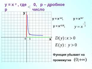 0 1 х у у = х-1,3, у = х-0,7 у = х-2,12, у = х р , где р 0, р – дробное число
