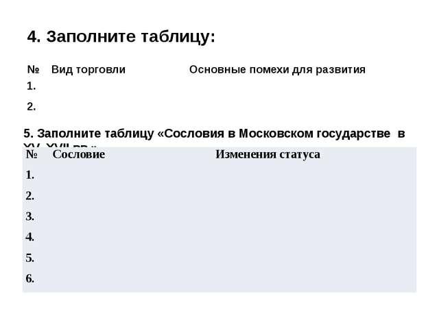4. Заполните таблицу: 5. Заполните таблицу «Сословия в Московском государстве...
