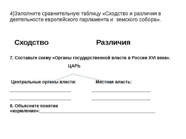 4)Заполните сравнительную таблицу «Сходство и различия в деятельности европей...