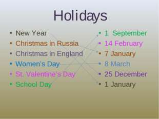 Holidays New Year Christmas in Russia Christmas in England Women's Day St. Va