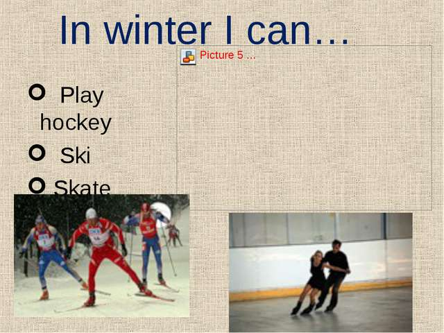 In winter I can… Play hockey Ski Skate