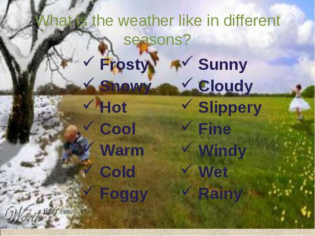 What is the weather like in different seasons? Frosty Snowy Hot Cool Warm Col...