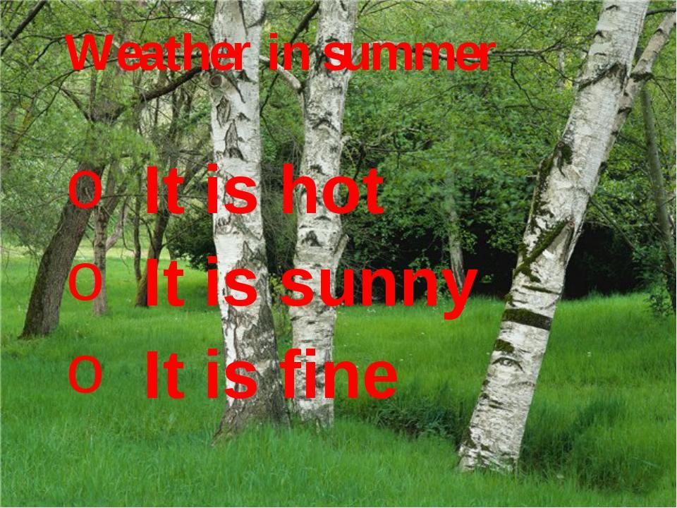 It is hot It is hot It is sunny It is fine It is hot It is sunny It is fine W...