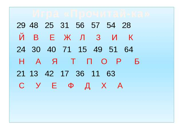 48 25 31 56 57 54 28 Й В Е Ж Л З И К 30 40 71 15 49 51 64 Н А Я Т П О Р Б 13...