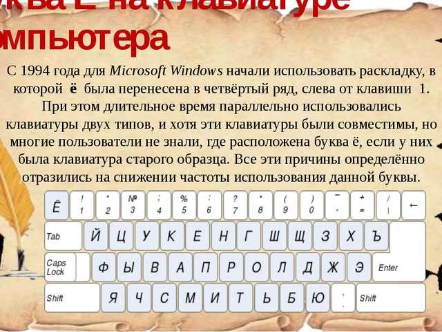 Буква Ё на клавиатуре компьютера С 1994 года для Microsoft Windows начали исп...