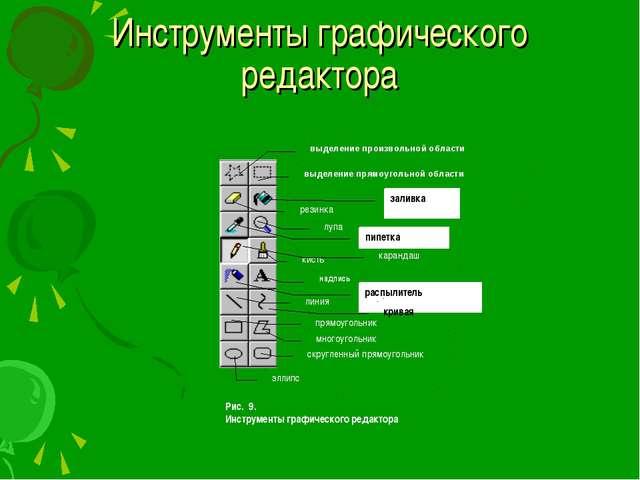 Инструменты графического редактора Рис. 9. Инструменты графического редактора