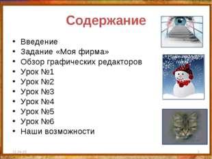 Содержание Введение Задание «Моя фирма» Обзор графических редакторов Урок №1