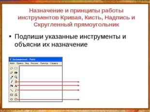 Назначение и принципы работы инструментов Кривая, Кисть, Надпись и Скругленны