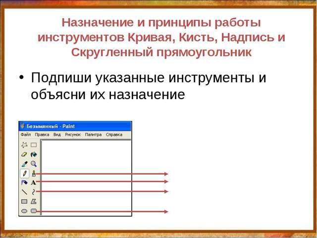 Назначение и принципы работы инструментов Кривая, Кисть, Надпись и Скругленны...