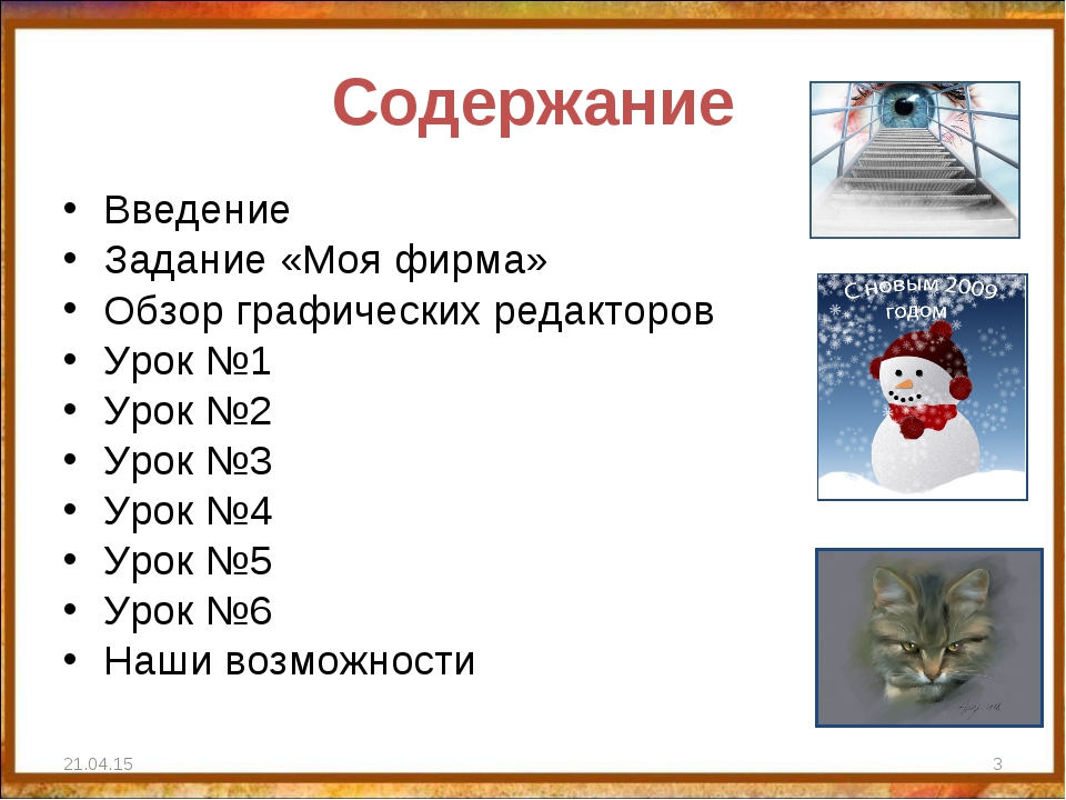 Содержание Введение Задание «Моя фирма» Обзор графических редакторов Урок №1...