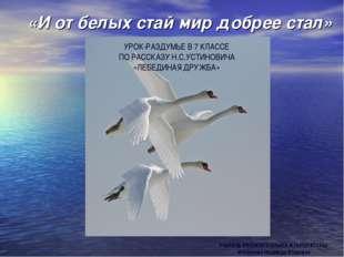 «И от белых стай мир добрее стал» УЧИТЕЛЬ РУССКОГО ЯЗЫКА И ЛИТЕРАТУРЫ: Матвен