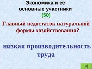 Экономика и ее основные участники (50) Главный недостаток натуральной формы х