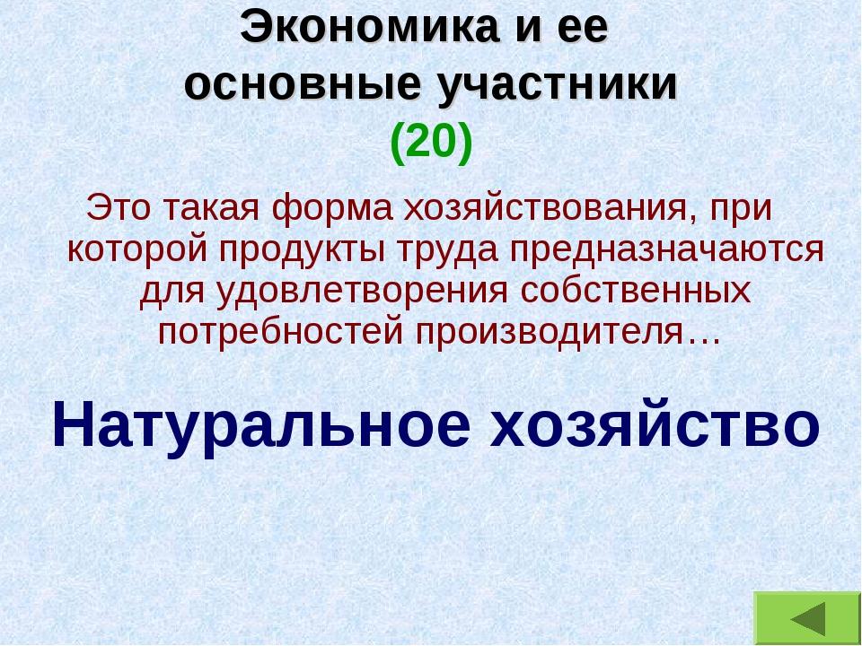 Экономика и ее основные участники (20) Это такая форма хозяйствования, при ко...