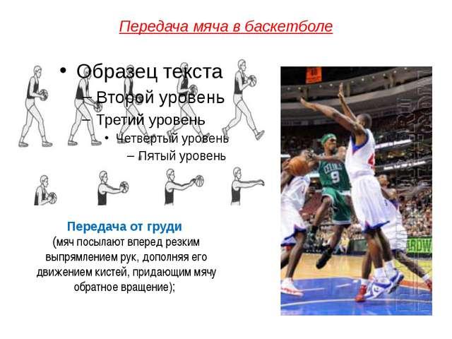 Передача мяча в баскетболе Передача от груди (мяч посылают вперед резким выпр...