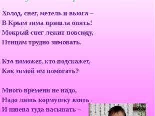 Козел Александр, 8 класс Холод, снег, метель и вьюга – В Крым зима пришла опя