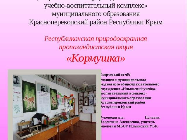 Муниципальное бюджетное общеобразовательное учреждение «Ильинский учебно-вос...