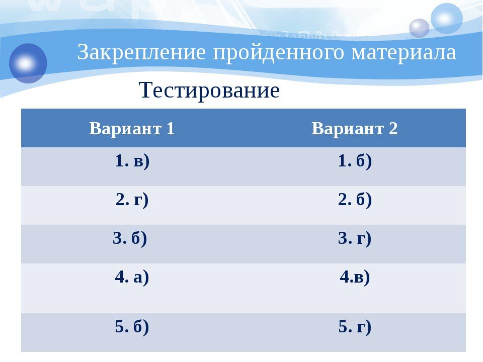 Закрепление пройденного материала Тестирование Вариант 1 Вариант 2 1. в) 1. б...